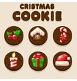 Set Cartoon Chocolate Christmas cookies biskvit vector image vector image