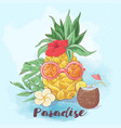 set cocktail ice cream and tropical fruits vector image