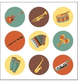 Set of music instruments icons Flat style design vector image