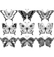 set of nine ornamental butterflies vector image vector image