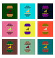set pixel icons of cheeseburger