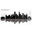 shenzhen china city skyline black and white vector image vector image