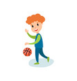smiling little boy character playing basketball vector image