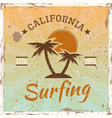 surfing colored vintage emblem with palms vector image vector image
