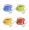 Tea cup and spoon Set of vector image vector image