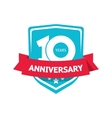 Ten 10 years anniversary sticker blue 10th vector image