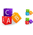 toy cubes with letter a b c vector image