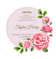 watercolor rose flower wedding card vector image