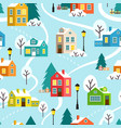 winter town or village seamless pattern vector image vector image
