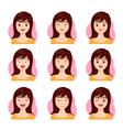 woman long hair face emotion vector image