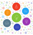 7 forest icons vector image vector image
