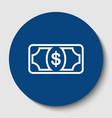 bank note dollar sign white contour icon vector image vector image