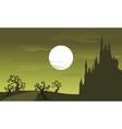 Big castle scenery Halloween and full moon vector image vector image