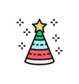 birthday hat cone party decoration flat color vector image