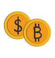 bitcoin virtual money exchange vector image