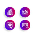 buildings coffee and investment icons set search vector image vector image