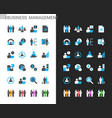 business management icons light and dark theme vector image