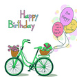 Card for Birthday with bicycle and balloons vector image vector image
