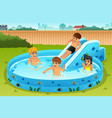 children playing in inflatable pool vector image vector image