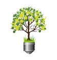 colorful silhouette of light bulb base with leafy vector image vector image