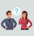 confused couple thoughtful young girl and man vector image