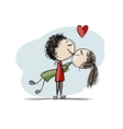Couple in love kissing valentine sketch for your vector image vector image