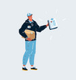 delivery man with parcel box and checklist tablet vector image vector image
