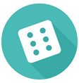dice icon on white circle with a long shadow vector image vector image
