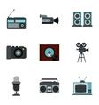 Electronic communication icons set flat style