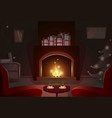 fireplace with empty chairs merry christmas and vector image