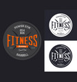fitness or gym sign with barbell vector image vector image