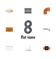 flat icon pipeline set of radiator industry tap vector image vector image