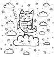 good night coloring page with a cute sleeping owl vector image vector image