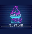 ice cream cup with bow neon delicious dessert vector image vector image