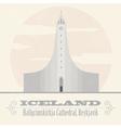 Iceland landmarks Retro styled image vector image vector image