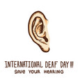 international ear day concept background hand vector image