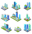 isometric 3d set summer city quarters vector image