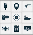 journey icons set with shower ship quadrupter vector image