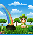 leprechaun man with coin pot and hat on nature bac vector image