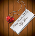 Letter with pendant on wood background raster vector image