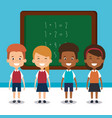 little students with chalkboard avatars characters vector image