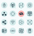 machine icons set collection of branching program vector image vector image