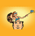 man with an open head selfie girl smartphone vector image vector image