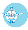 modern robot in meditation yoga pose vector image