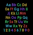 Neon glow alphabet design party retro 3d art font vector image