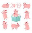 pig new year character set vector image vector image