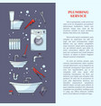 plumbing services poster with tools and equipment vector image vector image