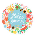 round summer composition and inscription hello vector image