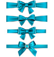 Satin blue ribbons Gift bows vector image vector image