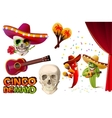 Set Cinco de Mayo Mexican skull in sombrero vector image